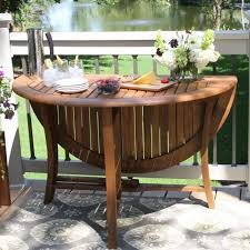 48 x48 round folding wood patio dining table w umbrella hole lunch picnic porch