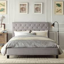 Inspire Q Sophie Grey Linen Tufted Platform King Bed