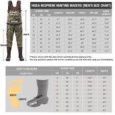 Cabela S Wader Size Chart Hisea Chest Waders Neoprene Duck Hunting Waders For Men With Boots Camo Fishing Wader Bootfoot Cleated Waterproof Breathable Insulated
