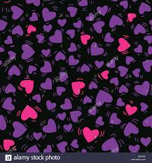 Cool Pink And Black Background Vector Purple And Pink Color Heart Hand Drawn Seamless Pattern