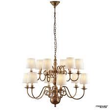 chamberlain 12 light pendant solid mellow brass marble silk