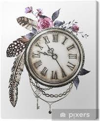 Obraz Parní Punk Akvarel Ilustrace S Wildflowers Klíče Pták Peří Růže šperky Hodiny Květiny Styl Tetování Ilustrace Izolovaných Na Bílém