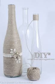 twine wrapped wine bottle and other DIY bottle ideas