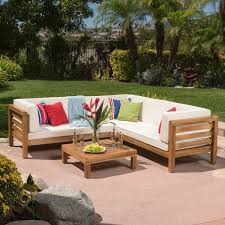 oana outdoor 4piece acacia wood sectional sofa set with cushions by christopher knight home outdoor sectional p13 outdoor