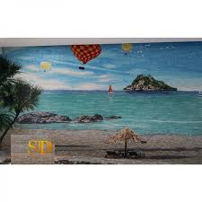 coastal mosaic wall panel ocean swirls