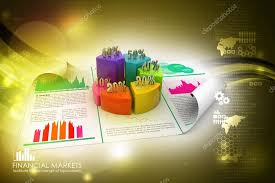 Business Report And Pie Chart With Growth Percentage Stock