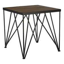 industrial style dark wood and metal square side table