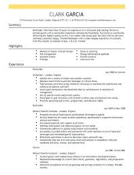 Bartender Resume Templates Enchanting Bartender Example For Restaurant Bar In Resume Template Sample