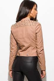 taupe blush pink faux leather long sleeve collarless studded jacket