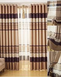 affordable beige brown striped curtains blackout