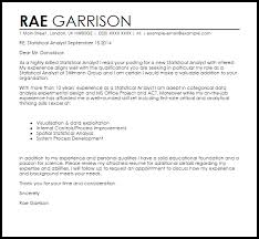 System Analyst Cover Letter Statistical Analyst Cover Letter Sample Cover Letter