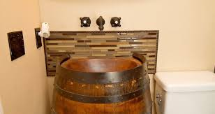 wooden bathroom awesome whiskey barrel vanity french oak half wine bathroom sink table complete with hammered copper oil