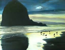 the first oil painting i ever did haystack rock at cannon beach oregon i started writing a suspense novel because this painting inspired me to do so
