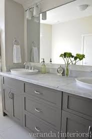 dual bathroom vanities. Cabinet Color For Master :: Gray Double Bathroom Vanity, Shaker Cabinets, Frameless Mirror, White Oval Vessel Sinks, Marble Countertop. Don\u0027t Like Sconces. Dual Vanities
