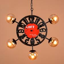 vintage iron black 5 light bar lighting chandelier with clock shape