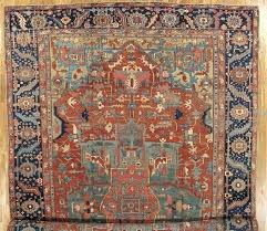 wool oriental rugs light blue rug antique carpet handmade rust navy vintage from india