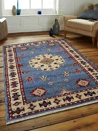 carpets hand knotted afghan wool and silk kazak area rug blue white 6
