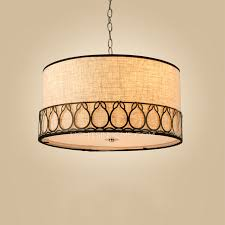 rustic drum pendant lighting 3 light fabric shade with design 14