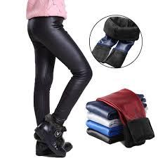 girls faux pu leather leggings winter thick fleece lined leggings for girls cute black red children