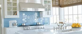 Sky Blue Glass Subway Tile Kitchen