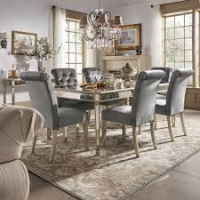clara silver velvet and antique gold mirrored dining set by inspire q bold on today overstock 17999915