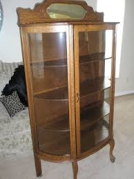 antique oak curved glass china curio cabinet fanti blog intended for inspirations 17