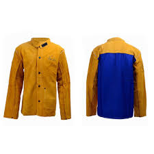 yellow flame resistant heavy duty leather welding jacket welding apparel l 1 of 12free see more