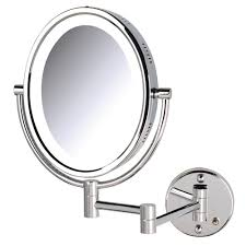 jerdon 11 in x 16 in bi view lighted wall makeup mirror