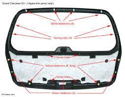 jeep grand cherokee wj liftgate trim and components wj liftgate trim panel back