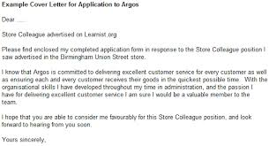Example Cover Letter For Application To Argos Learnist Org