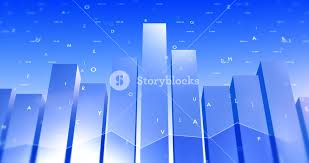 Stock Market Data Background With Letters And Bar Charts