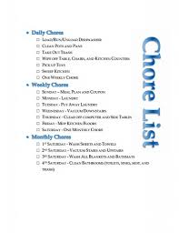 Household Chore List Daily Weekly And Monthly Cleaning And
