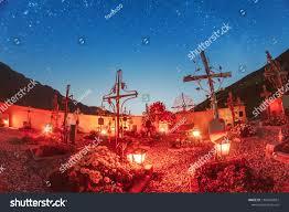 Eternal Light Cemetery Hours Spooky Cemetery Night Under Eternal Stars Stock Photo Edit