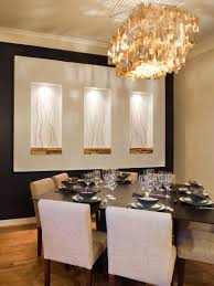 dining room wall decor with brach tree like ornaments in recessed space on the beige wall for contemporary dining room