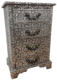 black and silver furniture. blackened silver embossed metal 4 drawer bedside black and furniture u