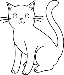 black and white cat clipart. White Cat Clipart In Black And WorldArtsMe