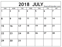 Calendar Doc Pin By Calendar On July 2018 Calendar 2018 Printable