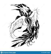 ворон и ангел тату протектор покровитель также вектор иллюстрации