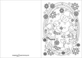 Disegno Di Biglietto Con Bambini E Pupazzo Di Neve Che Festeggiano