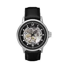 mens relic watches kohl s relic men s leather automatic skeleton watch
