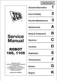 jcb robot 185 1105 skid steer loader service repair manual a instant jcb robot 185 1105 skid steer loader service repair manual this manual content all service repair maintenance