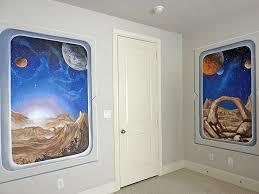 fantasy space room 3 windows to a fantasy space scene