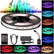 Led Lights Sync To Music Sunjoyco Led Strip Lights Sync To Music 16 4ft 5m Led Light 300 Leds Smd 5050 Waterproof Flexible Rgb Led Light Strip Kit W Ir Remote Controller 12v