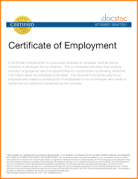 4 Example Of Certificate Of Employment Buyer Resume