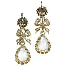 antique victorian chandelier earrings with big pear shaped rose cut diamonds
