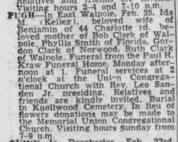 Ida Kelley Pugh - obit 1967 MA - Newspapers.com