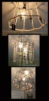 DIY repurposed light fixtures--an old lamp shade frame, some wire garden  fencing
