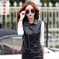 women s leather vest motorcycle pu leather female vest fashion sleeveless jacket plus size turn collar pockets waistcoat las