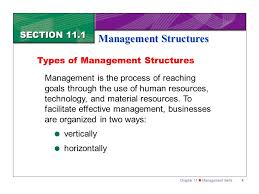 types of management skills chapter 11 management skills1 section 11 1 management structures