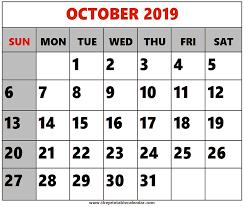 2019 October Calendar October 2019 Printable Calendars